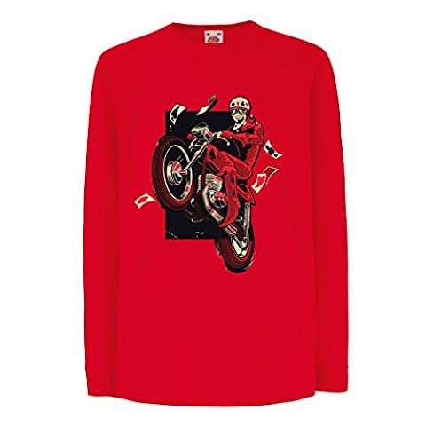 T-shirt for kids Motorcyclist - Motorcycle clothing, vintage designs retro clothing (12-13 years Red Multi - Rotor Axle