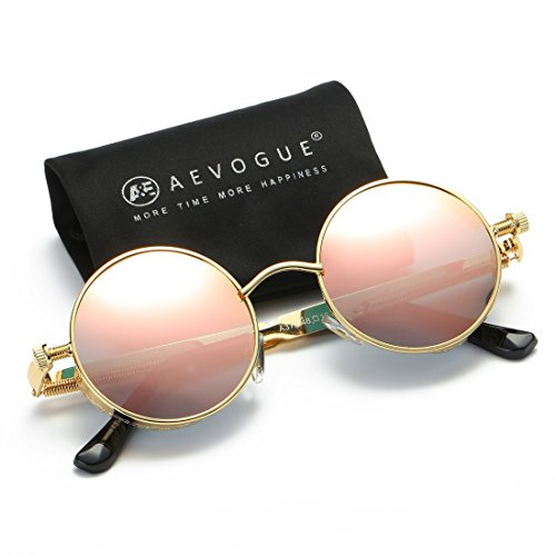 AEVOGUE Polarized Sunglasses Steampunk Round Lens Metal Frame Unisex Glasses AE0519 Gold&pink
