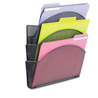 (Onyx Magnetic Mesh Panel Accessories, 3 File Pocket, 13 x 4 1/3 x 13 1/2. Black)