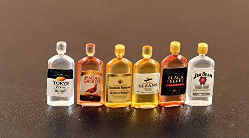 Little Drink Wine Wisky Bottles 6pcs 1:12 Dollhouse Miniature Cute