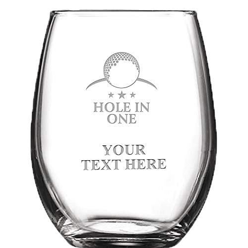 Golf Personalized Wine Glass - 9 oz Custom Soiree Stemless Hole in One Wine Glass Gift, Engraving Included -