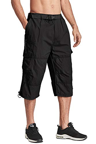 TACVASEN Summer Breathable Multi-Pocket Men's Casual 3/4 Capri Shorts Pants Black ()