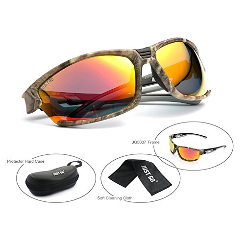 Just Go Polarized Sports Sunglasses for Baseball Running Cycling Fishing Golf for Men Women, Camouflage, Orange - Racing Ocean Sunglasses