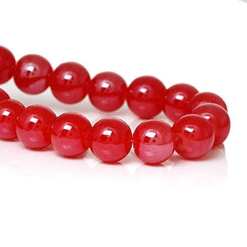 ShopForAllYou Design Making 8mm Watermelon RED Round Glass Pearl Beads, dbl strnd~104 Beads, bgl1589