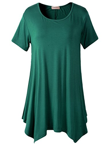 LARACE Womens Swing Tunic Tops Loose Fit Comfy Flattering T Shirt (XL, Deep Green)