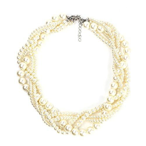 United Elegance Exquisite Multi-Strand, Intertwined, Faux Pearl Choker Necklace