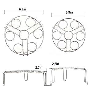 TOMOTE Egg Steamer Rack Trivet for Instant Pot Accessories 5 Qt, 6 Qt, 8 Qt Pressure Cooker - 2 Pack Stackable 304 Stainless steel Multipurpose Cooling Rack (2 Pack)