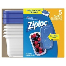 Ziploc Containers, Small Rectangle, 5 ea