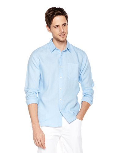 Isle Bay Linens Men's Standard-Fit 100% Linen Long-Sleeve Woven Casual Shirt Medium Light Blue