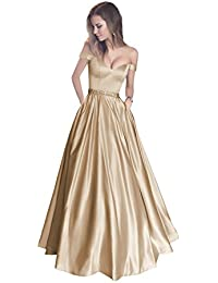 396913ca41d Off The Shoulder Beaded Satin Evening Prom Dress with Pocket