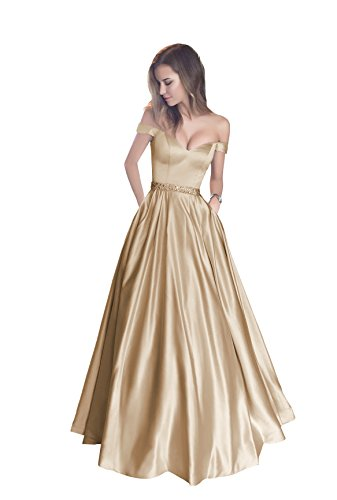 Harsuccting Off The Shoulder Beaded Satin Evening Prom Dress with Pocket Champagne