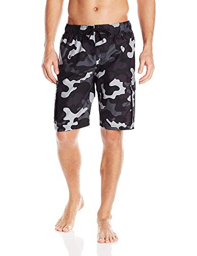 Kanu Surf Men's Barracuda Swim Trunks (Regular & Extended Sizes), Camo Black, - Camo Pacific