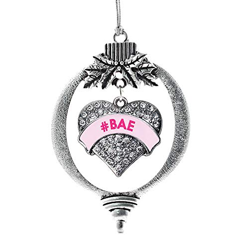 Inspired Silver - #BAE Pink Candy Charm Ornament - Silver Pave Heart Charm Holiday Ornaments with Cubic Zirconia Jewelry