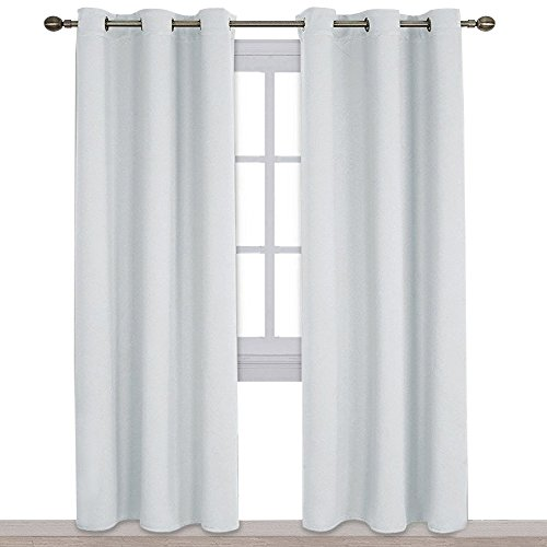 NICETOWN Easy Care Solid Thermal Insulated Grommet Room Darkening Curtains/Drapes for Bedroom (2 Panels, 42 by 84, Light Grey-Greyish White) (With Grey Curtains White)