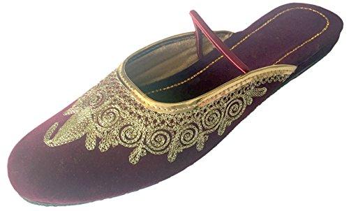 Jutti Pompes Chaussures Femmes Traditionnel Style Khussa Arrière Mojari Flâneur N Plat Panjabi Étape 0qgCBB
