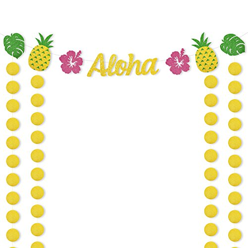 Hawaiian Aloha Party Banner Luau Themed Supplies Tropical Leaves Pineapple Decorations Glitter Circle Dots Backdrop for Adults Kids Birthday Wedding Baby Shower (Luau Party Ideas For Adults)