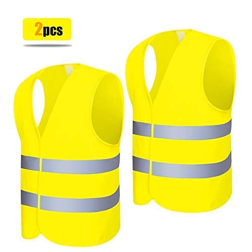 Chaleco Reflectante 12 Piezas Chaleco de Seguridad de Alta Visibilidad Amarillo