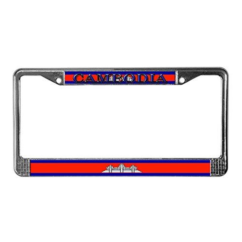 (CafePress Cambodia Cambodian Flag License Plate Frame Chrome License Plate Frame, License Tag Holder)
