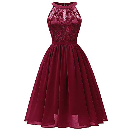 KCatsy Elegant Round Collar Sleeveless Lace Insert Prom Dress Red -