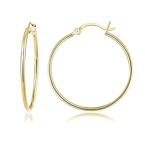 Gold Flash Sterling Silver 1.5mm High Polished Round Hoop Earrings, 25mm (Mm 25 Hoop Round)