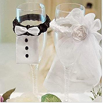 Amazon Wedding Wine Glasses Covers 1pair Bride And Groom