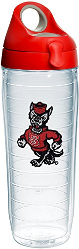 (Tervis 1231011 NC State Wolfpack Wolf Insulated Tumbler with Emblem and Red with Gray Lid, 24oz Water Bottle, Clear)
