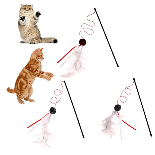 free shipping PyLios(TM) Funny Pet Cats Toy Teaser Plastic Long Pole Bell Sticks Toys for Cats Kitten Pet Interactive Toy Cat Jumping Training Supplies
