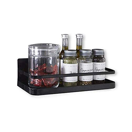 Refrigerator Spice Rack Organizer Single Tier Magnetic Fridge Spice Storage, Black ()