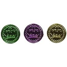 Beistle 50857-GGP 100-Pack Mardi Gras Plastic Coins, 1-1/2-Inch, Gold/Green/Purple