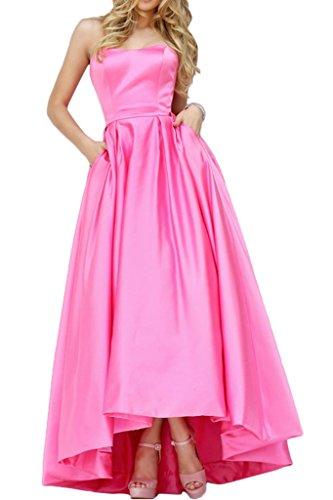 Lo Lang Hi Satin Einfach Rosa Abendkleid Bride Promkleid Gorgeous Abendmode Traegerlos 1xIqawff
