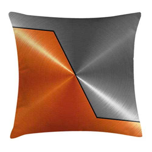 Ambesonne Orange and Grey Throw Pillow Cushion Cover, 3D Style Machinery Structure Image Detailed Vivid Modern Contrast Colors, Decorative Square Accent Pillow Case, 16