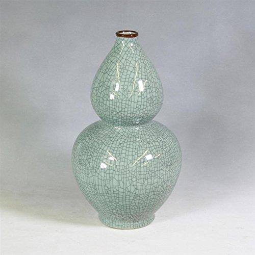 - Crackle Celadon Gourd Vase with Brown Lip Decorative Ceramic Porcelain Vase