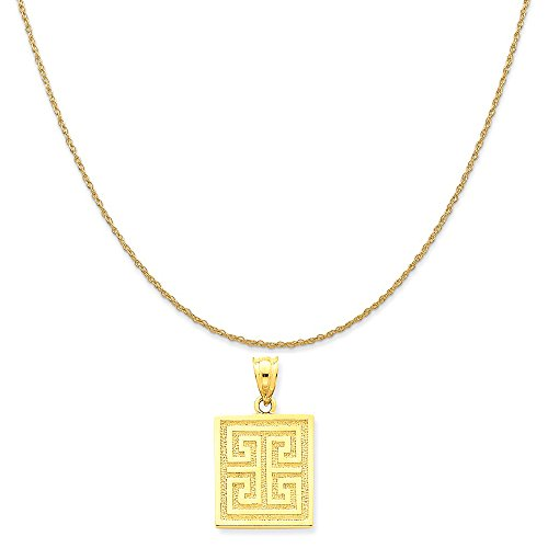 Mireval 14k Yellow Gold Greek Key Pendant on a 14K Yellow Gold Rope Chain Necklace, 16