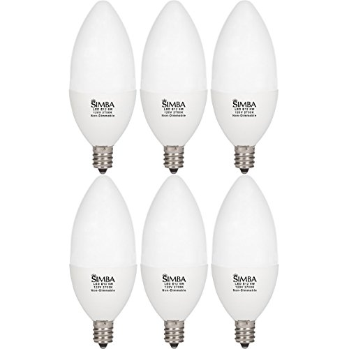 Chandelier Bulb Covers ([6 Pack] Simba Lighting LED Candle Shape 6W 550lm 60W Incandescent Equivalent 180° Beam Angle 120V for Ceiling Fan, Chandelier, B11 Candelabra E12 Base, PC Cover, Non-Dimmable, Warm White 2700K)