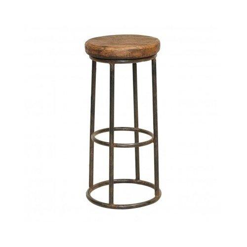 Vintage Counter Bar Stool with Iron Wood Finish and Sturdy Iron Base. Rust Proof 30 Inches High Includes Scented Candle Tart