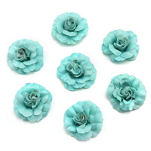 Fake Flower Heads in Bulk Wholesale for Crafts Artificial Silk Mini Rose Flower Head Wedding Home Decoration DIY Party Festival Decor Garland Scrapbook Gift Box Craft 30pcs/lot (Tiffany)