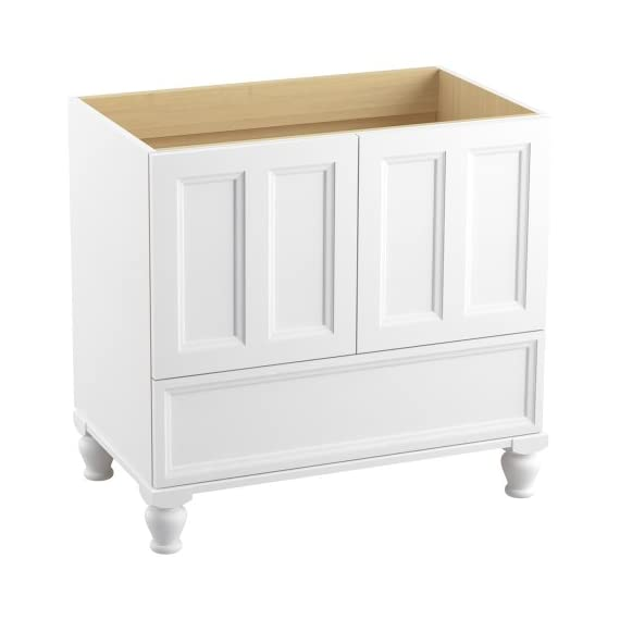 KOHLER K-99519-LG-1WA Damask Vanity with Furniture Legs and 2 Doors and 1 Drawer, 36-Inch, Linen White - Combines with Solid/Expressions(TM) and Ceramic/Impressions(TM) vanity tops (sold separately) for a complete vanity Frameless construction with full-overlay doors Three-way adjustable slow-close door hinges with 110-degree opening capability for easy cabinet access - bathroom-vanities, bathroom-fixtures-hardware, bathroom - 41a2UWg48WL. SS570  -