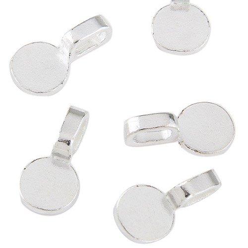 Ecloud Shop® 3 pieces 10 pcs 10mm Pendentif médaillon en argent plaqué blanc