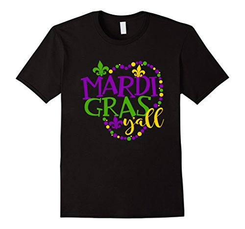 Men's Mardi Gras Y'All Best Price Mardi Gras TShirt 3XL Black (New Orleans Costume)