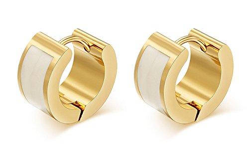 Enamel Huggie Earrings - SumBonum Jewelry Womens 18k Golden Plated Stainless Steel 2-Tone Enamel Huggie Hoop Earrings, White Golden