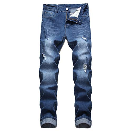 Dungaree Flannel Duck Lined Washed (NUWFOR Men's Stretchy Ripped Skinny Biker Jeans Destroyed Taped Slim Fit Denim Pants(Blue,US:33/AS:34 Waist:33.9
