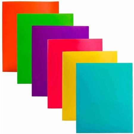 Two Pocket Poly File Folder with 3 Prongs Fastners, SET of 6 , Assorted / Colors may vary (2 Pockets Set)