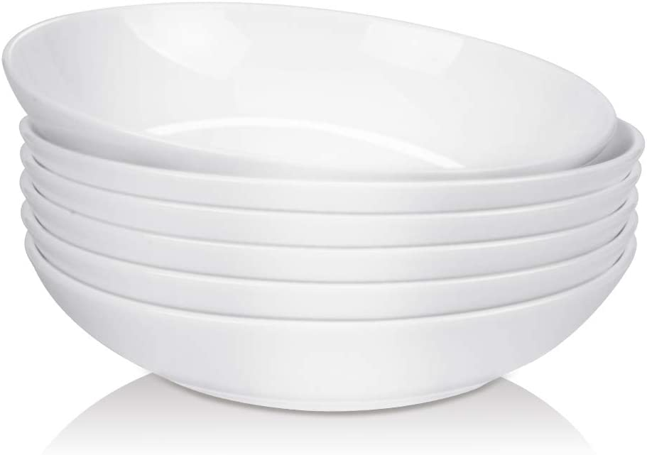 """DANMERS 26 Ounces Bowl Set for Cereal,Pasta,Dessert and Salad Bowls,8"""" White Dishes Serving Bowl,Set of 6"""