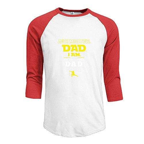 Men's Sportstyle 3/4 Sleeve Raglan Jedi Master Dad Baseball Tees Red XL
