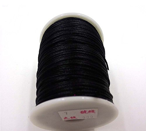 IME 2 MM Bugtail Satin Cord Satin/rattail Silk Cord for Necklace Bracelet Beading Cord Jewelry and Craft Cord 30 Yards (Black) (Satin Beading Silk)