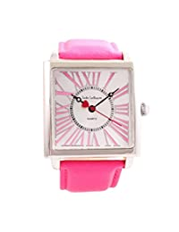 Womens Pink Quartz Watch Big Square Face Roman Numerals Leather Band Jade LeBaum - JB202871G