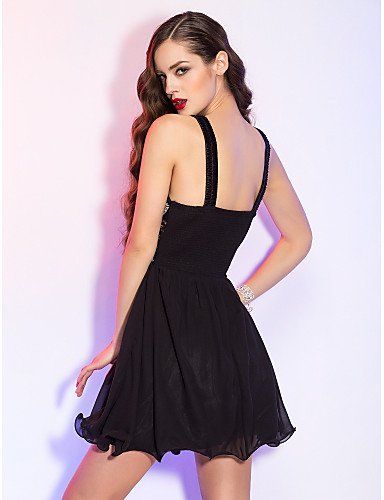 Lace de Dress Gasa AIURBAG Mini Draping A Line Holiday Cóctel Homecoming rebordear de Cuello Scoop con 8q8xZFgwaA