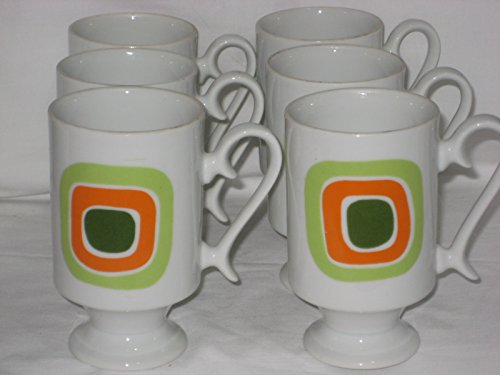 SET Of 6 - Vintage Retro Irish Coffee Style Light Green, Orange & Darker Green Design Pedestal Porcelain 4 3/4 Inch Cups Mugs - Pedestal Irish Coffee Mugs