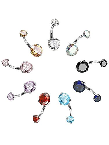 Design Belly Button - Hestya 9 Pieces 14 G 316L Surgical Steel Belly Button Rings Navel Ring CZ Barbell Body Piercing Jewelry, 9 Colors (Silver Color Post)