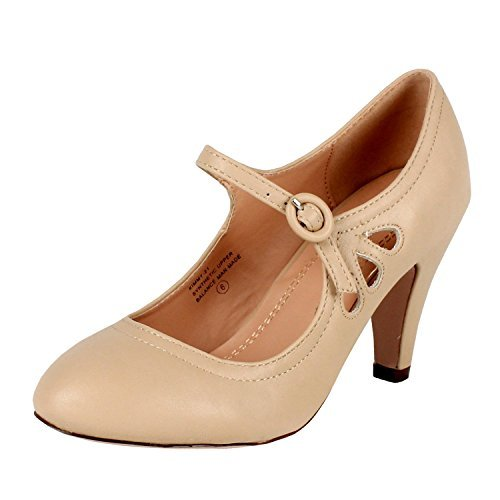 Chase & Chloe Women's Kimmy-21 Regular |Mary Jane | Mid Heel Shoes | Nude 8 by Chase & Chloe